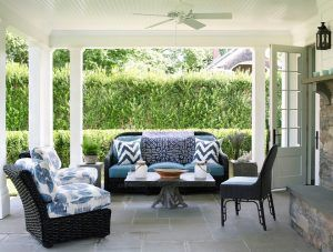 Porch Furniture With Blue And White Outdoor Fabric. Classic Porch Furniture  With Blue And White Outdoor Fabric #Porchfurniture #blueandwhite  #outdoorfabric ...