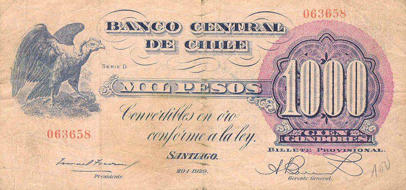 Banco Central De Chile 1000 Pesos 1929 Bank Notes Social Security Card Chile