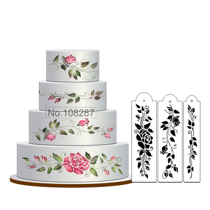Goedkope Rose Cake Stencil Set Bloemen Cake Sjabloneren Fondant