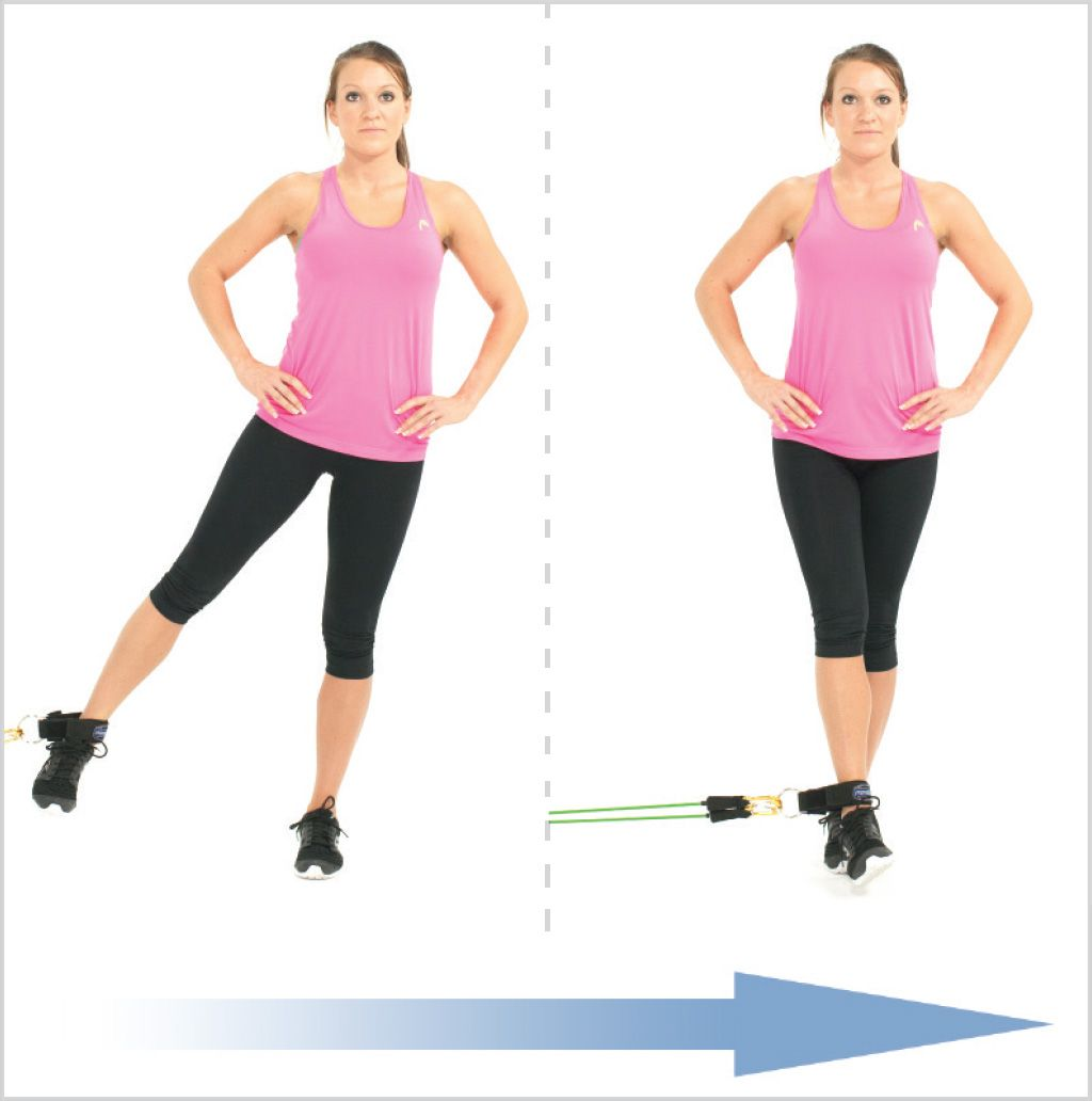 Resistance Bands Thigh Workout: Standing Leg Adduction With Clip Resistance Bands