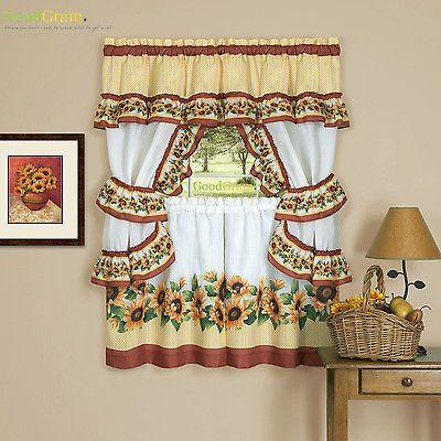 Chevron Sunflower Complete Cottage Kitchen Curtain Set By Goodgram Asst Sizes Ebay Sunflower Curtains