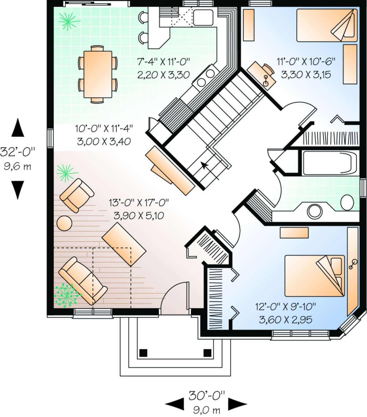 House Plan 034 00112 European Plan 929 Square Feet 2 Bedrooms 1 Bathroom In 2020 House Floor Plans European House Plans Small House Design