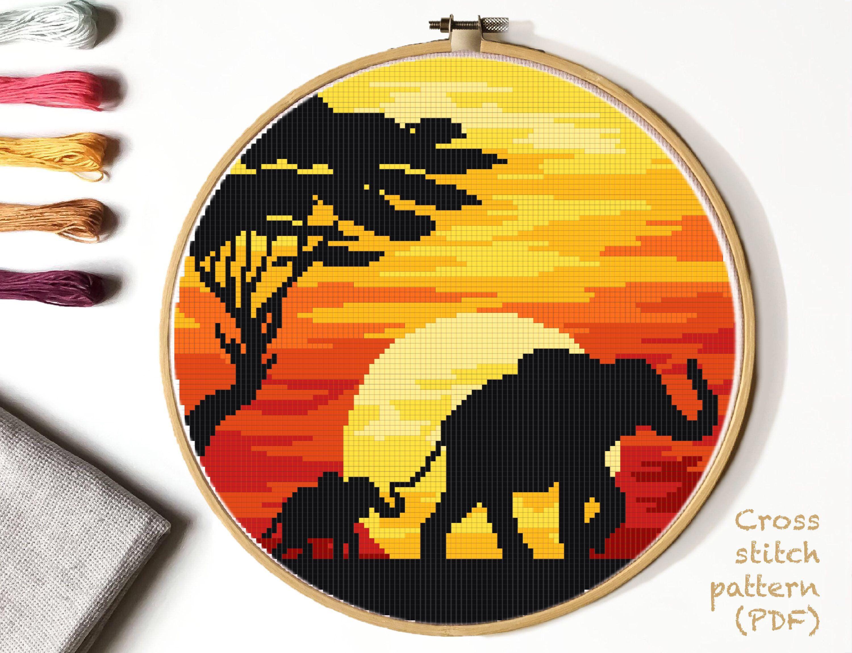 Photo of Elephant Cross Stitch Pattern, landscape  counted cross stitch chart, sunset,tree , animals cross stitch, hoop art, embroidery, instant PDF