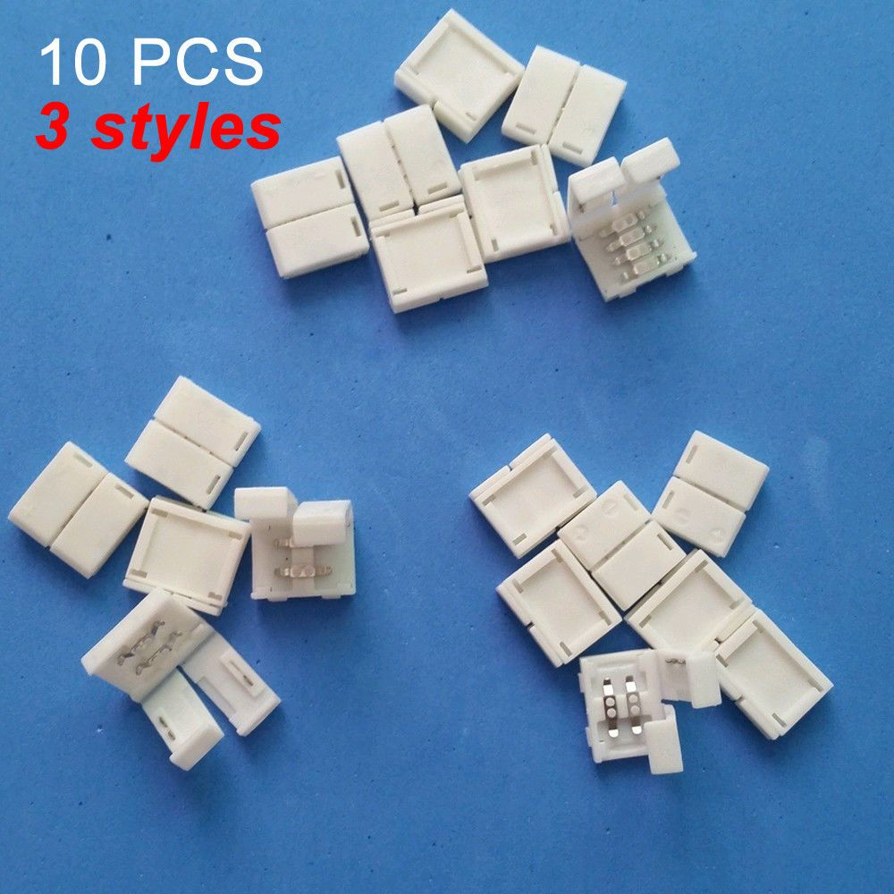 Solderless Clip-on Coupler Connector 2pin 4pin RGB for 3528 5050 LED Strip Light