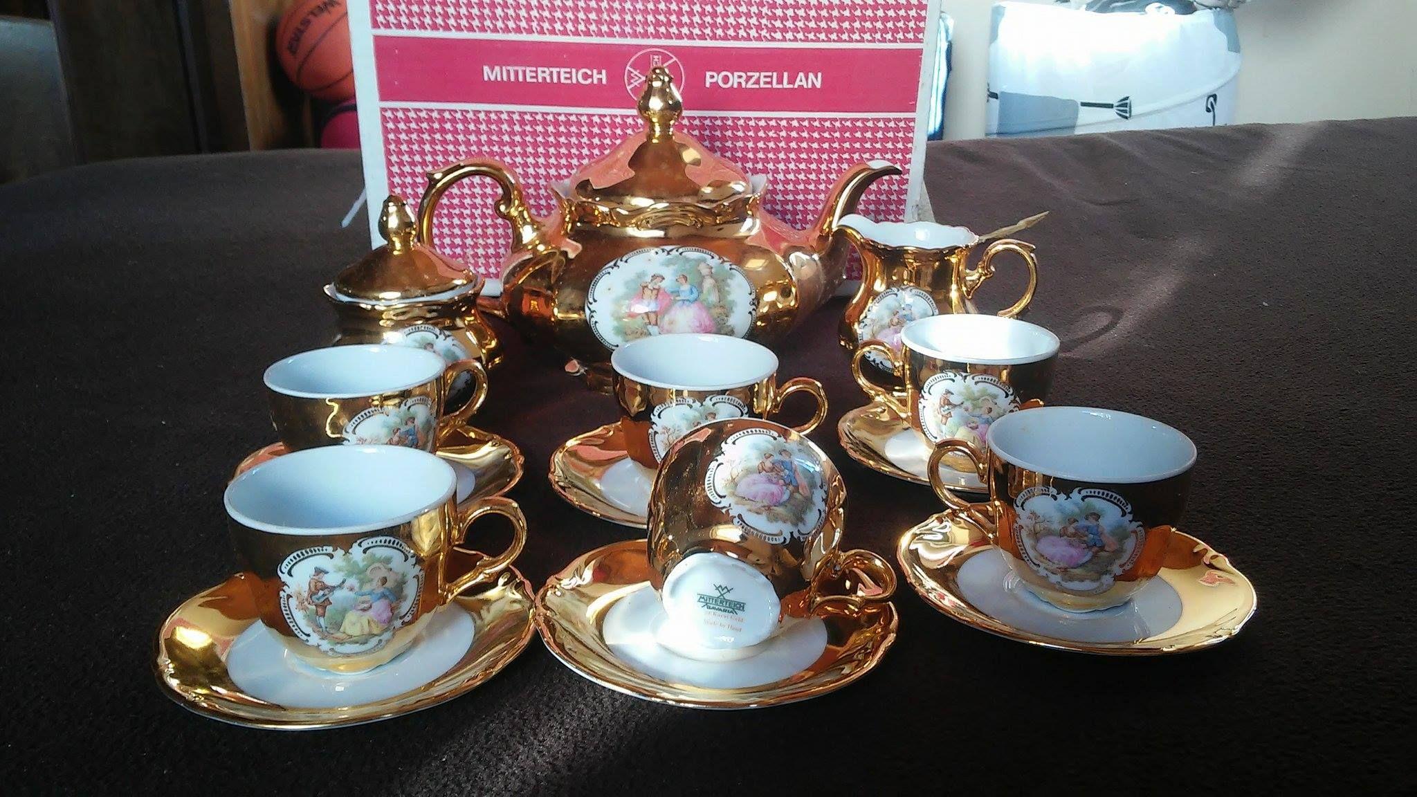 antique 24 karat gold over porzellan germany mitterteich bavaria coffee tea set hand. Black Bedroom Furniture Sets. Home Design Ideas