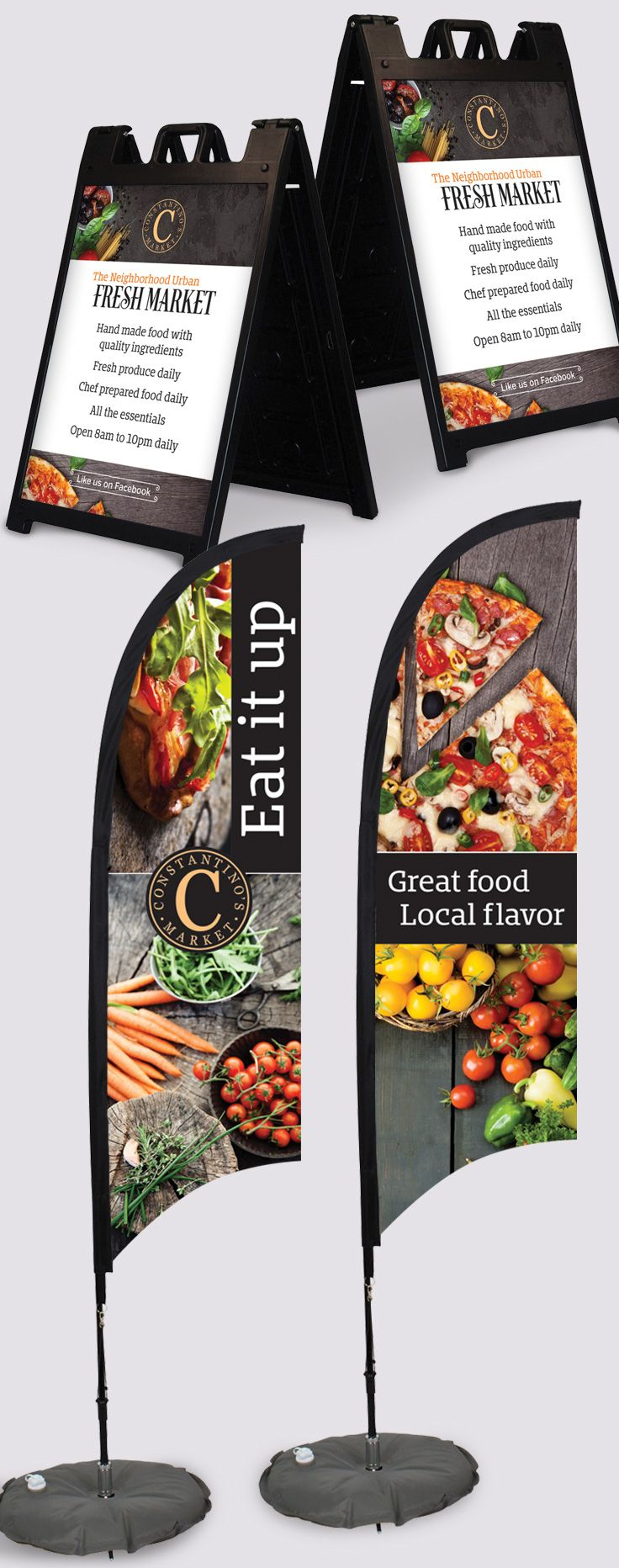 Constantinos market outdoor signage aframe board and 7