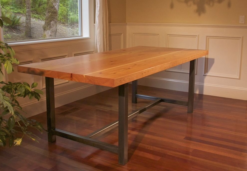 Another reclaimed wood dining room table option and a for Reclaimed flooring portland