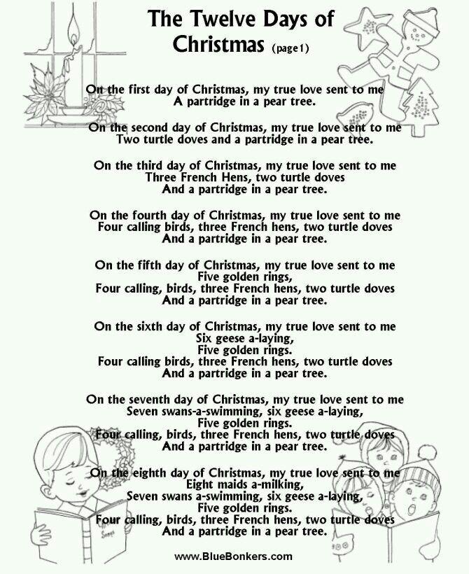 12 Days of Christmas song Christmas carols lyrics