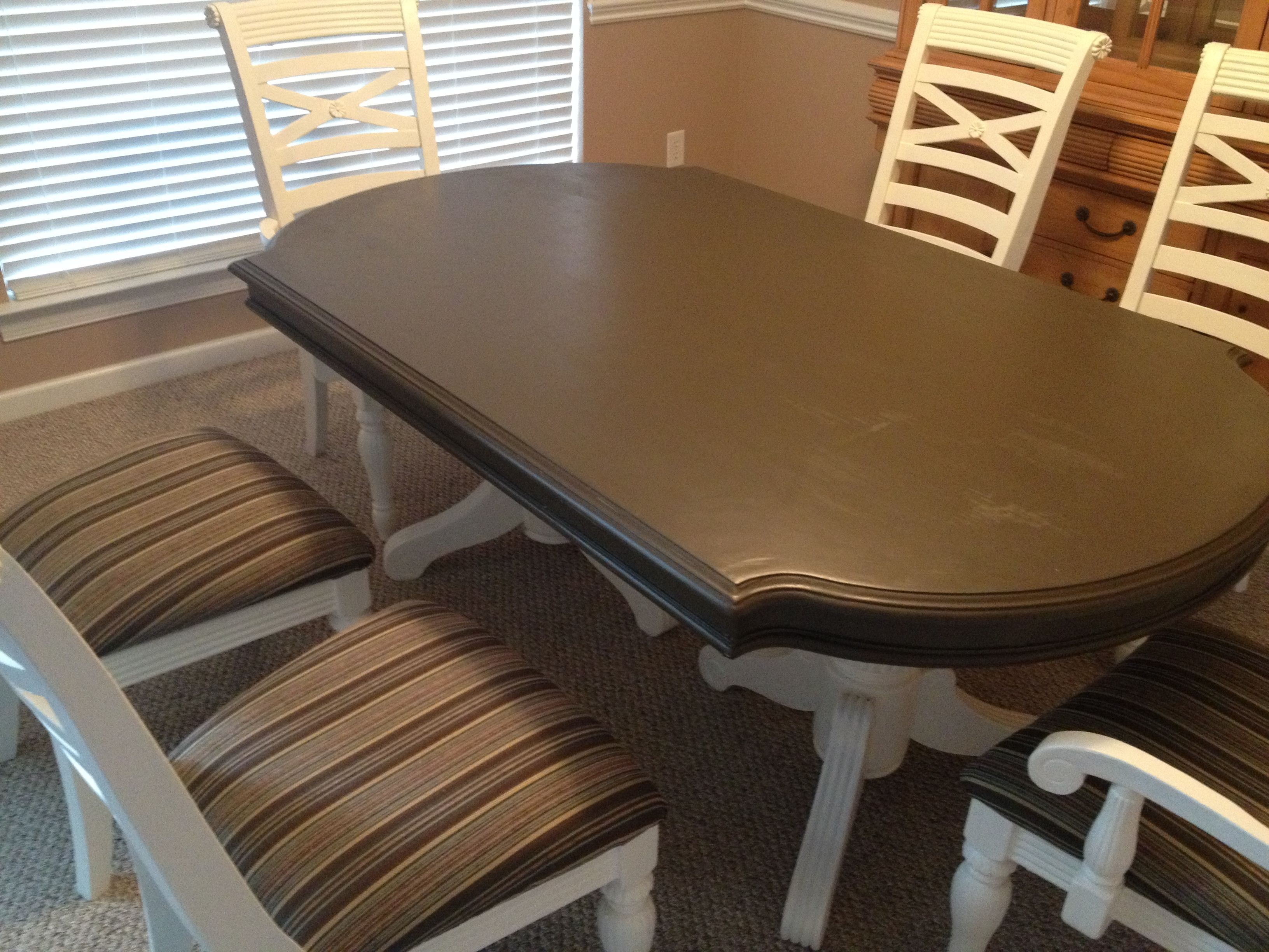 DIY refurbish of an old dining room table and chairs ...