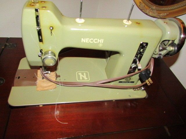 & Vintage Necchi Sewing Machine BF Model Mira Series in Cabinet all works