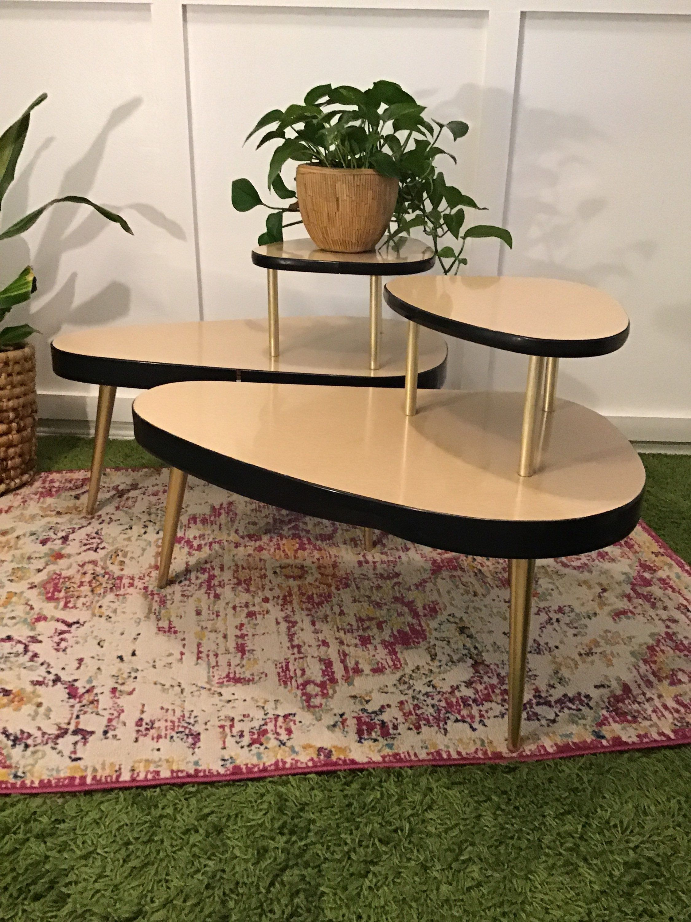 End Table Set Of Two Light Wood Formica Two Tier Tables Black Etsy End Table Sets End Tables Table Set of two end tables