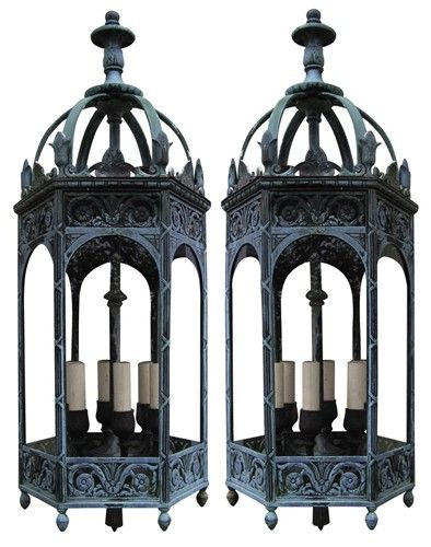 "V - Pair of 38"" Bronze Gothic Lantern Sconces"