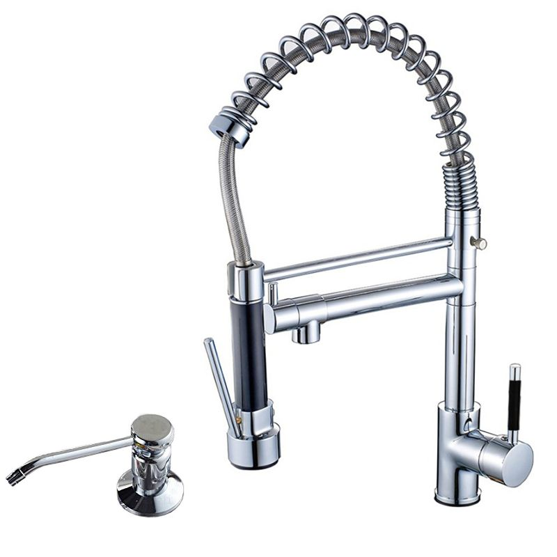 Chrome Finished Hot And Cold Water Pull Down Kitchen Sink Faucet Dual  Swivel Spout Stainless Steel