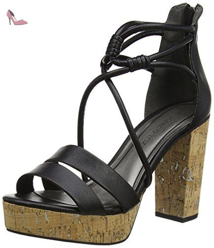 28105, Sandales Bout Ouvert Femme, Noir (Black 001), 37 EUMarco Tozzi
