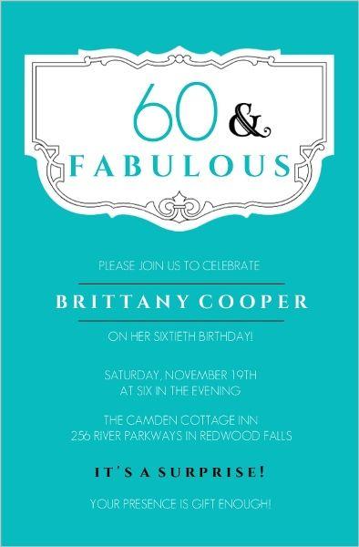 Teal And Fabulous 60th Birthday Invitation 60th Bilrthday