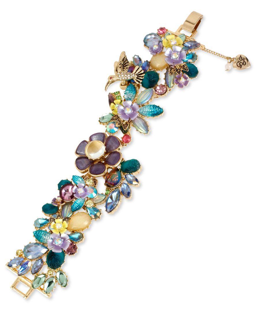 Betsey Johnson Gold-Tone Multi-Stone Flower Bracelet | Bijoux 4U ...