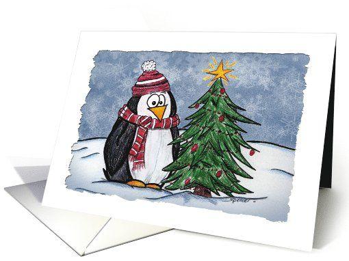 Sweet Cartoon Penguin by Tree Holiday Season Card