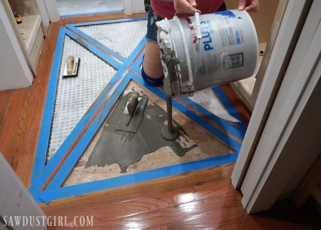 How to Install a Wood Floor with Tile Inlay - Sawdust Girl ...