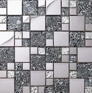 Glass Mosaic Kitchen Backsplash Tile Stainless Steel Mosaic