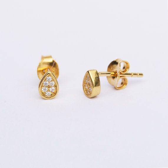 7dfa1153b Tiny gold earrings - tiny studs - teardrop - gold stud earrings ...
