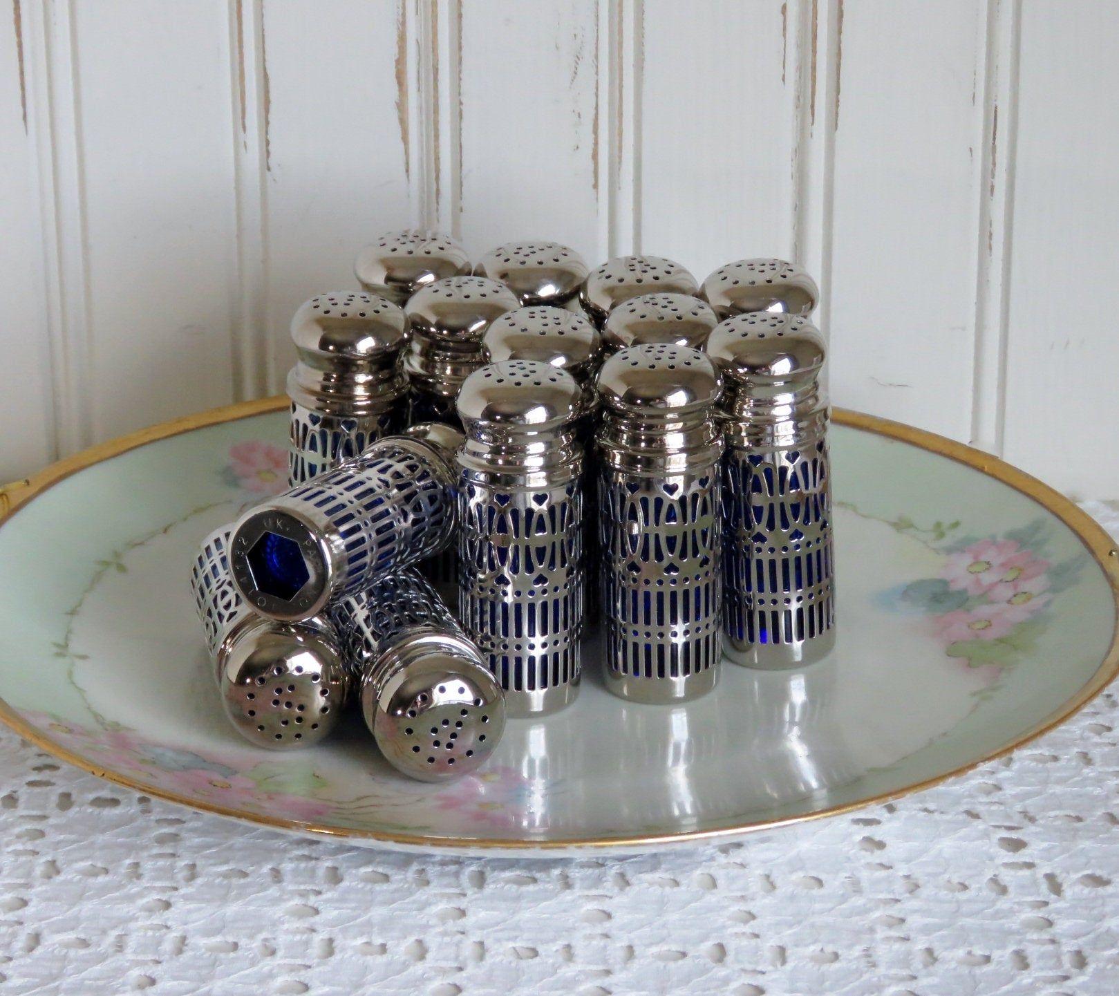 Vintage Salt and Pepper Shakers Blue Cobalt Glass UK PAT