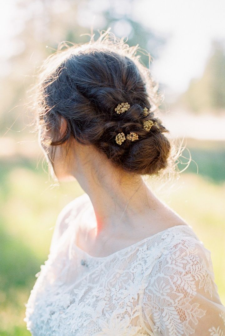 Updo bridal hairstyle for Fall wedding inspiration | fabmood.com #wedding #fallwedding #autumn #autumnwedding #updo #bridalhairstyle