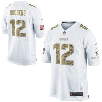 Nike Aaron Rodgers Green Bay Packers Salute to Service Game Jersey - White   SalutetoService  Packers 00f02cfb9