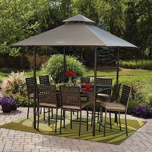 Mainstays Droma 10 Piece Gathering Height Patio Dining Set With Removable Canopy Seats 8 599 00 Patio Dining Set Patio Patio Set