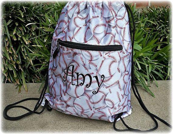 Personalized White Baseball Backpack