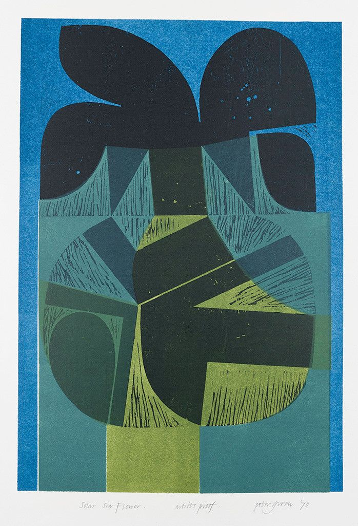 """Peter Green """"Solar Sea Flower"""" woodcut and stencil print"""