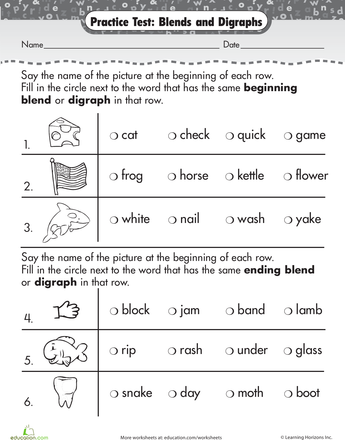 Phonics Practice Test Blends And Digraphs School Ideas