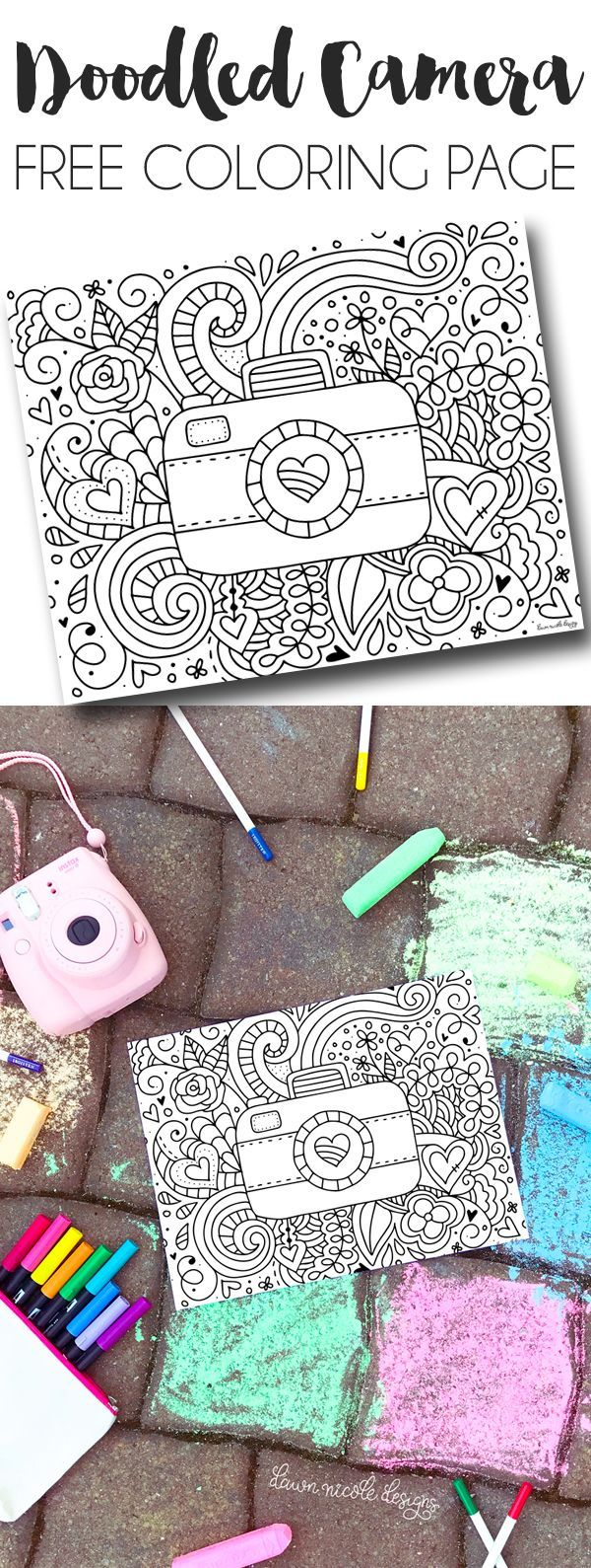Doodled Camera Free Printable Coloring Page. This coloring page is fun for kids and adults alike. Grab some markers and enjoy! DawnNicoleDesigns.com
