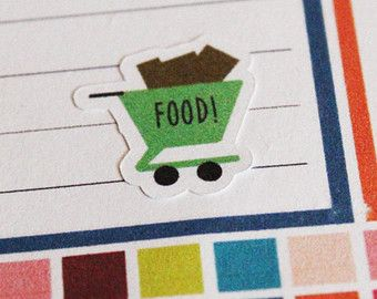 25 Grocery Shopping Life Planner Stickers Scrapbook Stickers Reminder Stickers Food Shopping Groceries Stickers