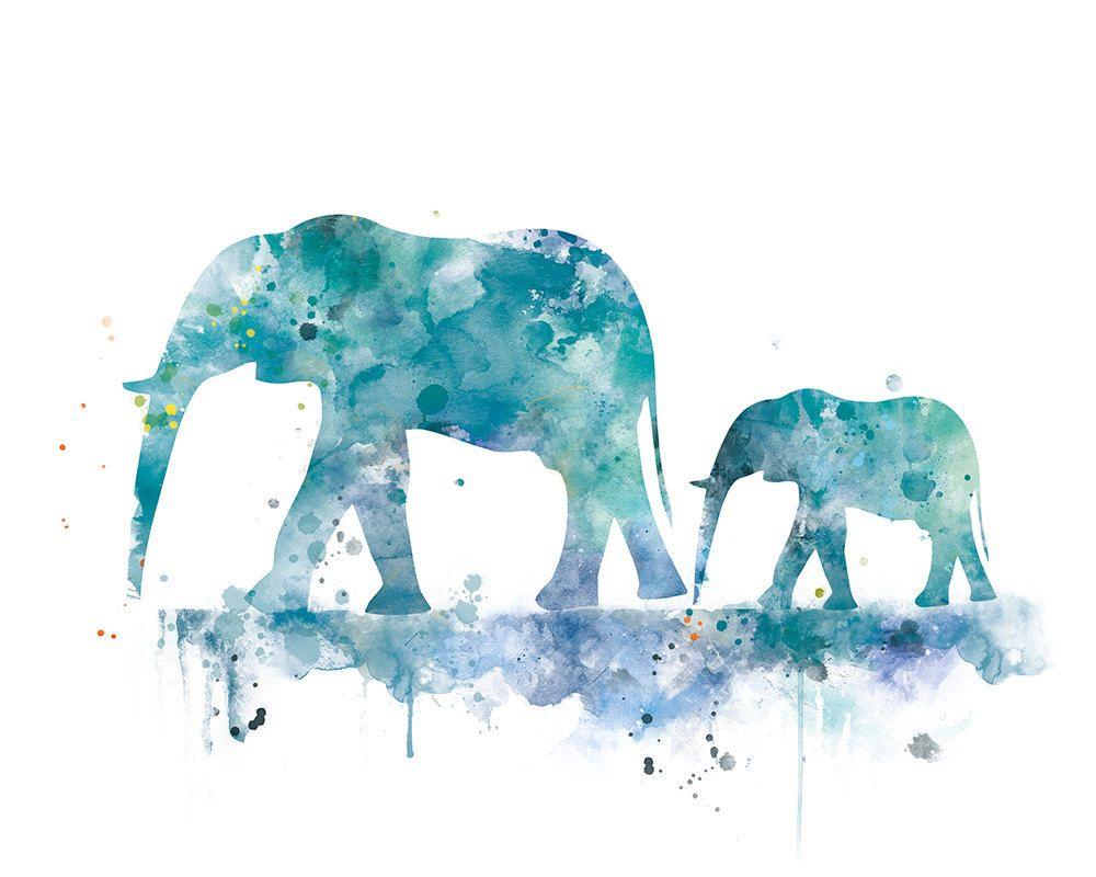 Elephant Family Art Print, Elephant Painting Baby Elephant ...