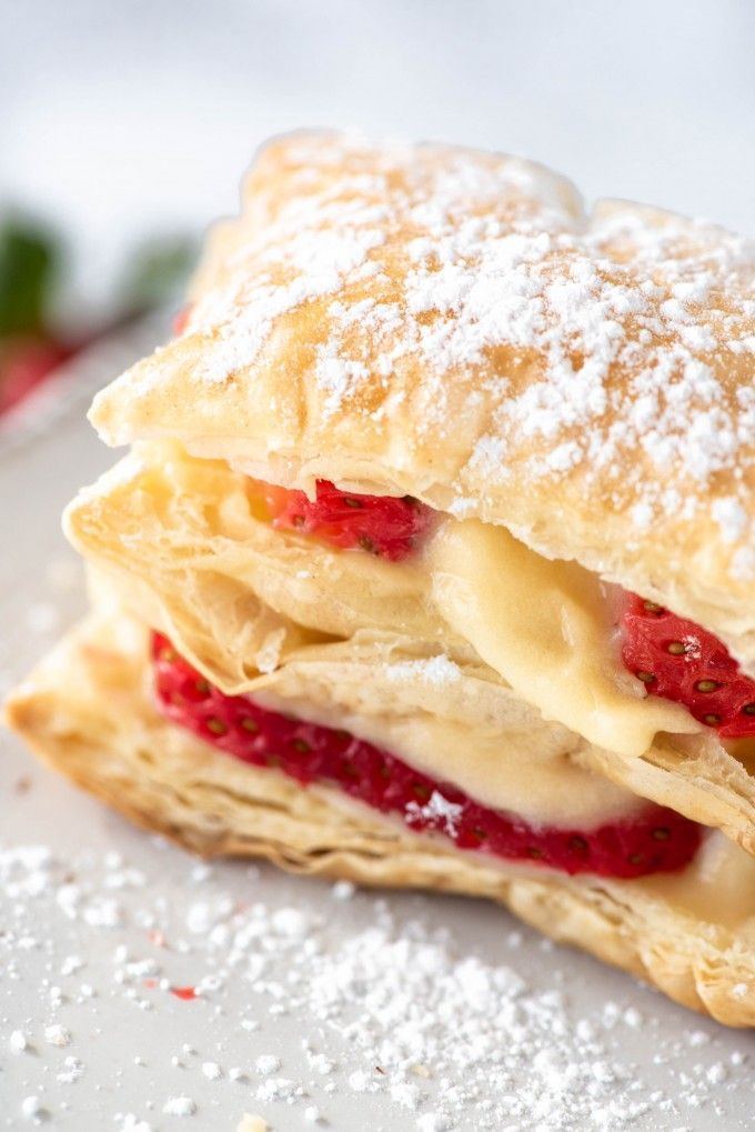 Photo of Easy Strawberry Napoleon Dessert Recipe with Puff Pastry