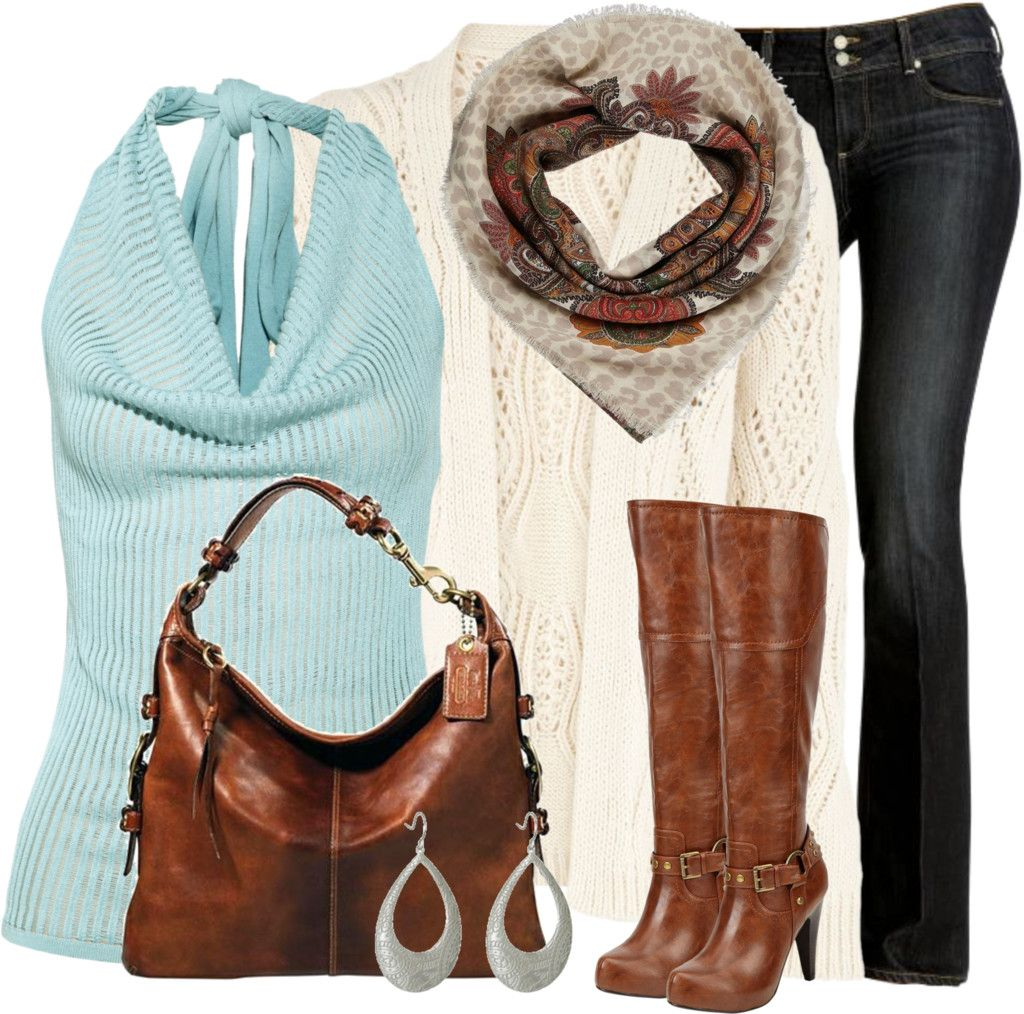 Brown Leather Boots & Bag