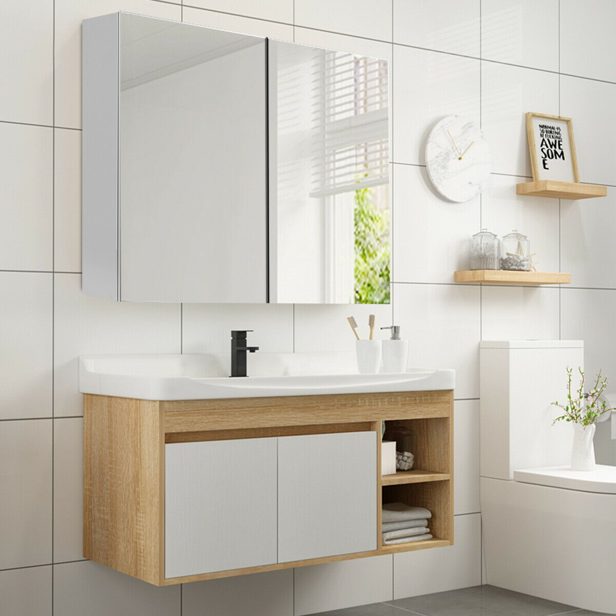 24 Wide Wall Mount Mirrored Medicine Storage Cabinet Wall Mounted Bathroom Cabinets Adjustable Shelving Wall Mounted Mirror