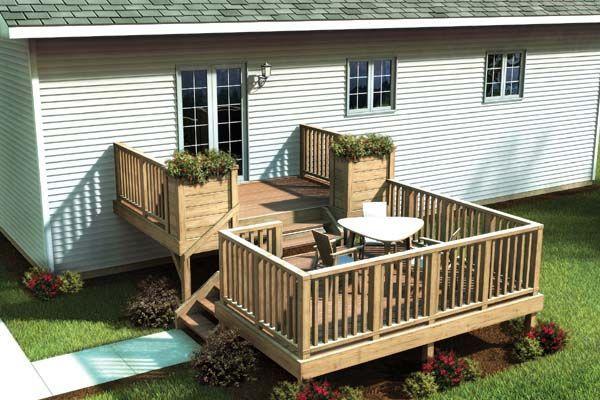 Plan 90017 Split Level Simply Fancy Deck Decks Backyard Deck Building Plans Building A Deck