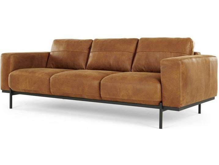 Jarrod 3 Sitzer Sofa Leder In Cognac Modernes Ledersofa 3 Sitzer Sofa