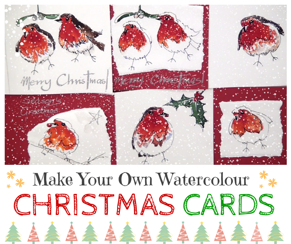 Here\'s a quick, simple and fun way to paint your own Christmas cards ...