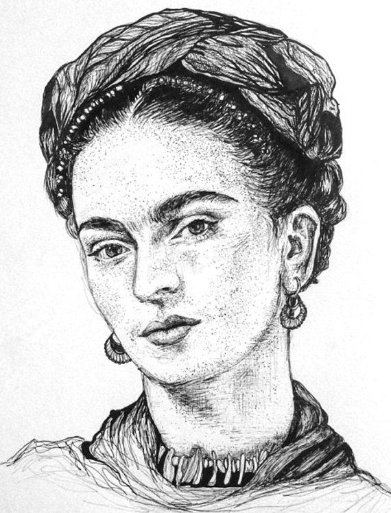 High quality professional print the print is of a pen ink high quality professional print the print is of a pen ink drawing of mexican artist and feminist icon frida kahlo this is a reproduction print of an ccuart Image collections