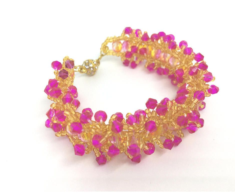 Topaz Fuchsia Swarovski Pink Orange Czech Glass Gold Magnetic