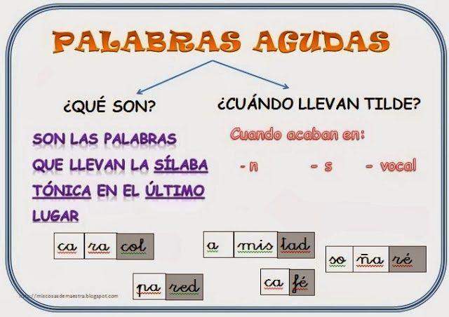 Escuela Bloguera Palabras Agudas Education Lessons Spanish Phrases Word Work