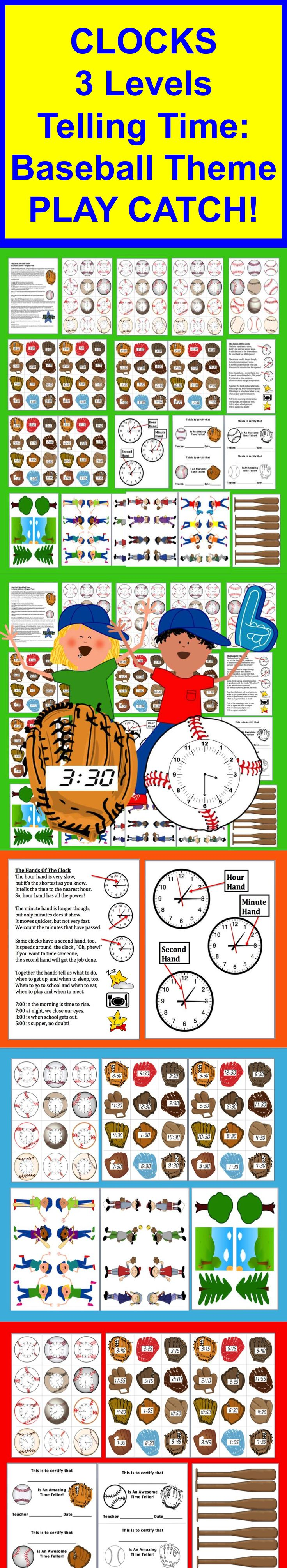$ Telling Time Clocks Math Centers: Play Catch at 3 Levels  ★ NEWLY REVISED WITH NEW CLIP ART!  ★Match Baseball Clocks to Digital Times in Gloves  ★Also contains an Original Telling Time Poem  Common Core State Standards:  Tell and write time.