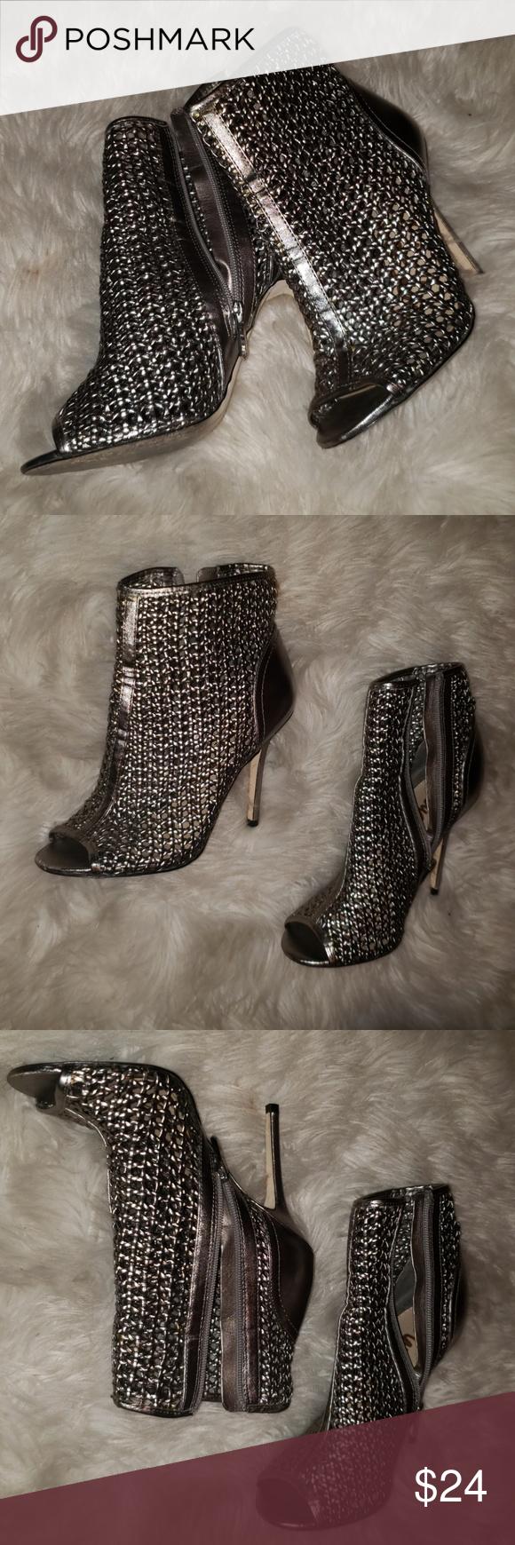 986deab16 Caged Sam Edelman Metallic Peep Toe Ankle Boots 👀 Caged Sam Pewter Edelman  Pewter Metallic