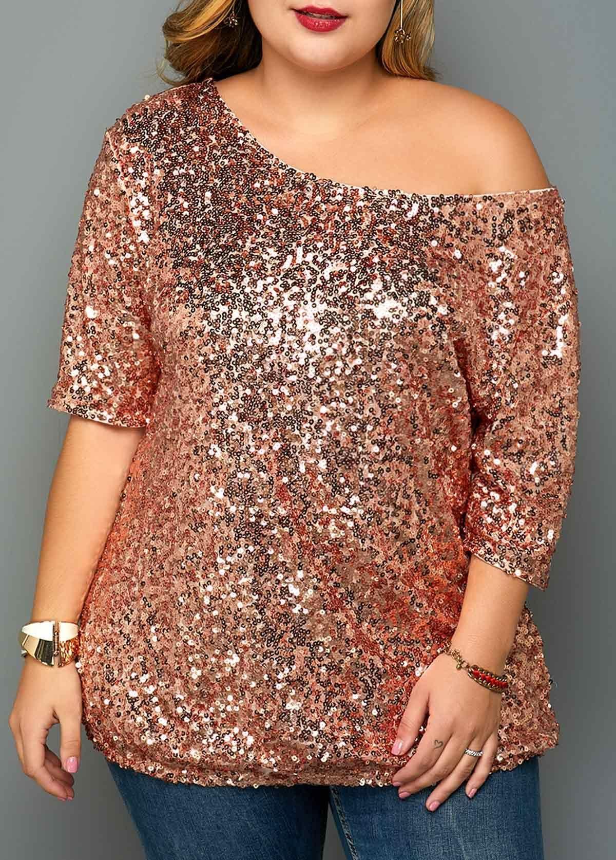 Sequin Embellsihed One Shoulder Plus Size T Shirt   Rosewe.com – USD $33.01 #Plu…