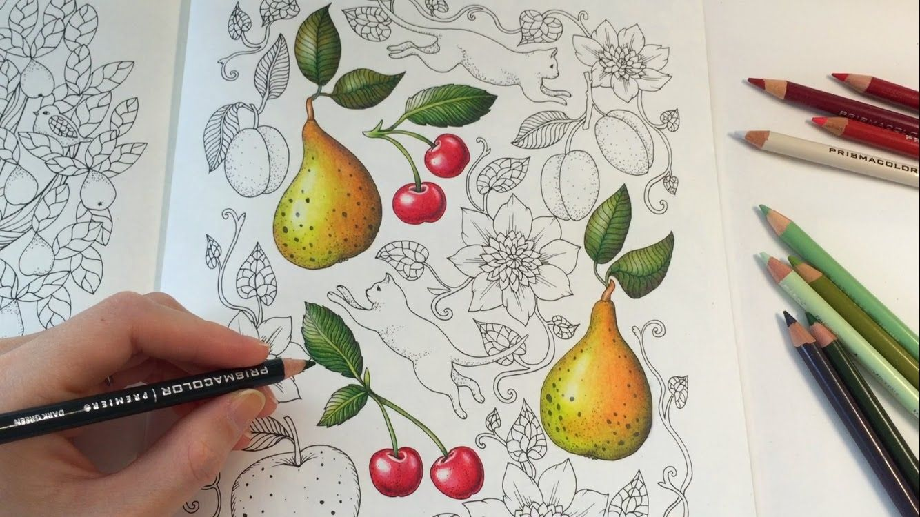 How I Color A Cherry Blomstermandala Coloring Book Coloring With Colored Pencils Mandala Coloring Books Pear Drawing Coloring Books