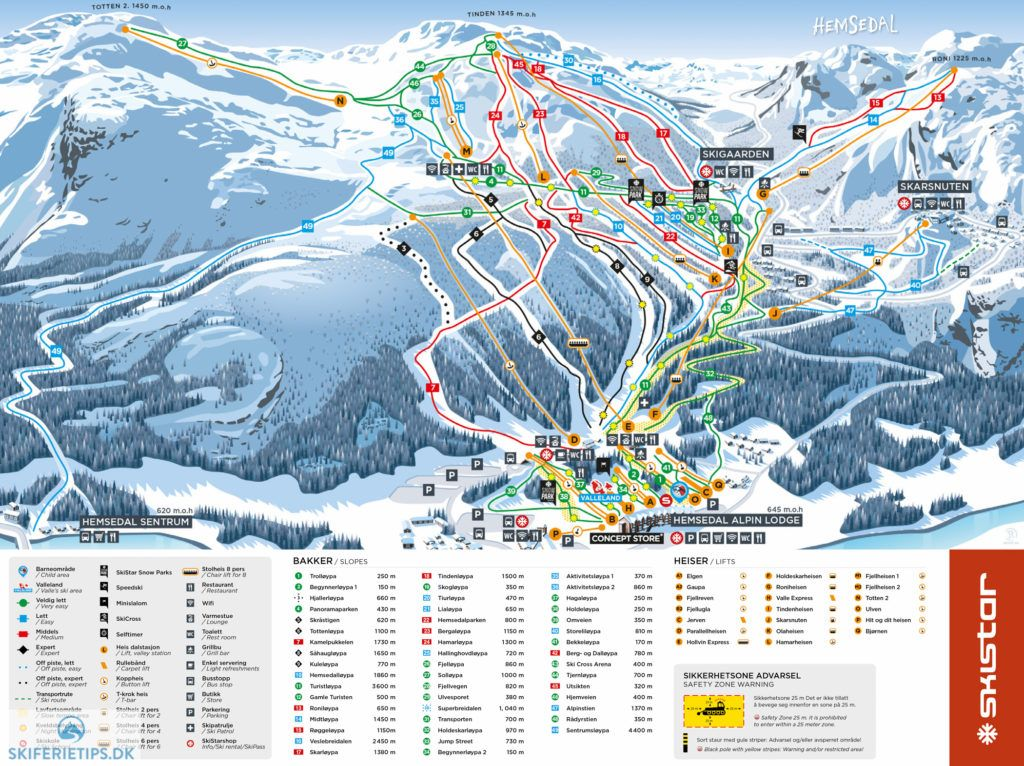 Hemsedal Piste Map High resolution JPEG hemsedal norway