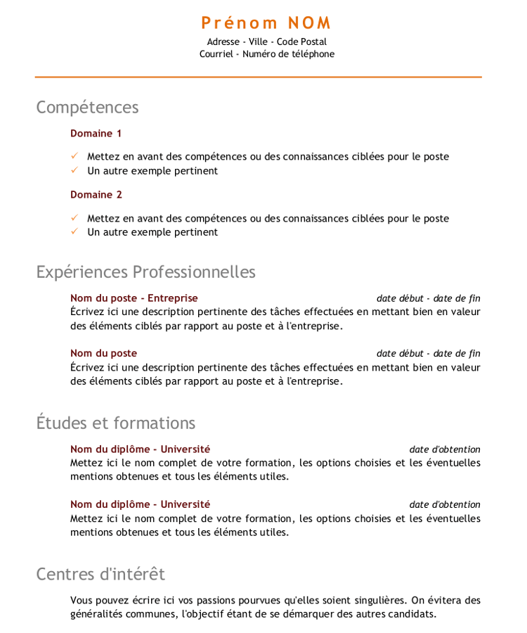 exemple de cv competences compatible word