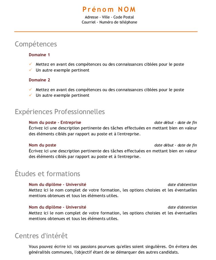 Cv Competences Exemple Cv Telecharger Cv Modele Cv